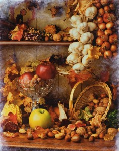 Window Display of Autumn Harvest Foods