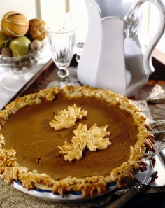 Pumpkin Pie with Pastry Leaf Crust