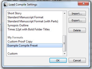 Choose Compile Preset