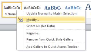 Modify Word Style