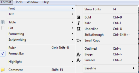 Scriv Shortcuts Format