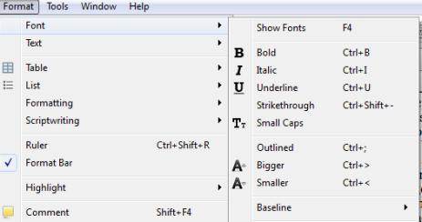Scriv Shortcuts Format