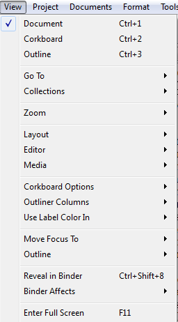 Scriv Shortcuts View