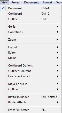Scriv Shortcuts View