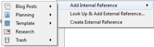 Add Internal References Menu Displayed