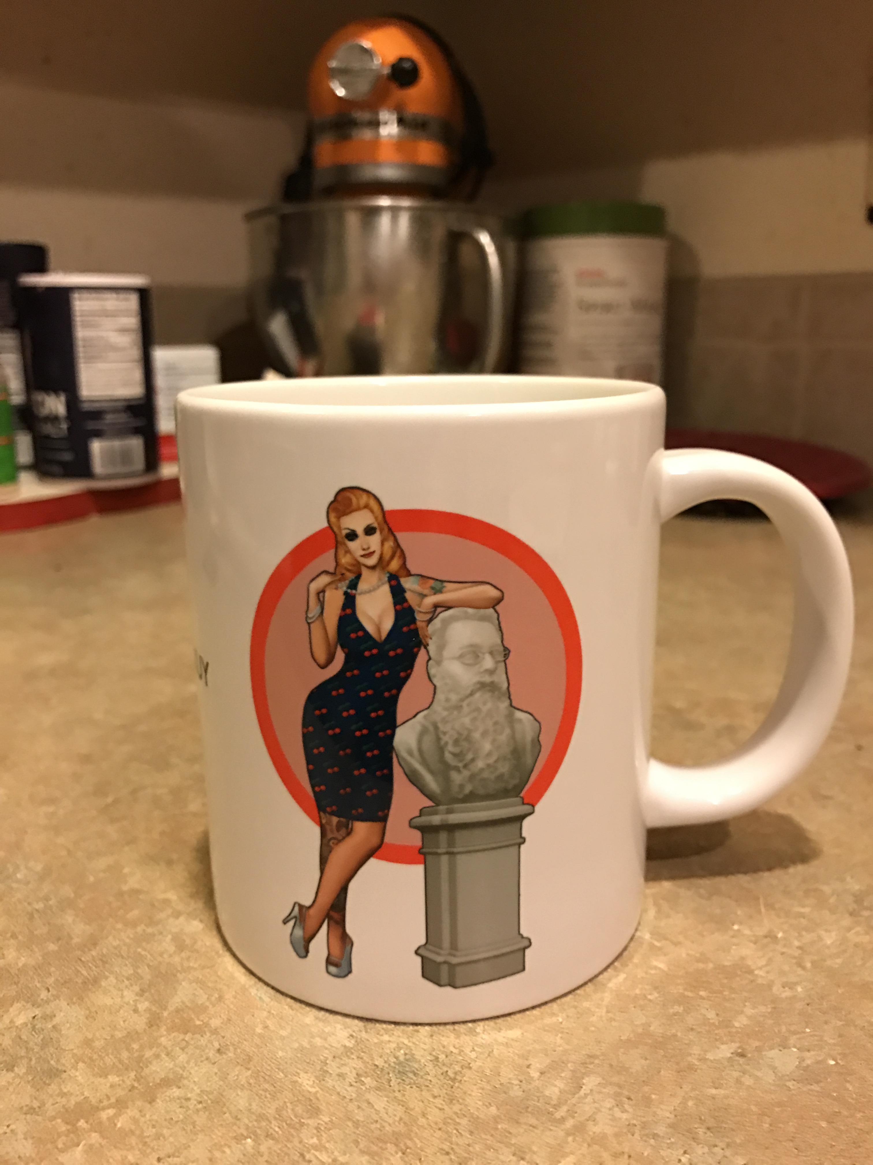 To Keep People Following The Tour, I'm Giving Away Two Huge Coffee Mugs  Featuring Lisa Burton, My Personal Assistant And Spokesmodel