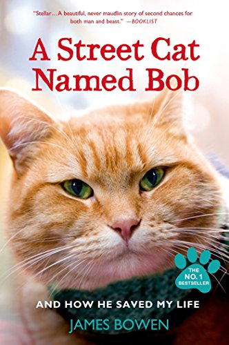 Book cover for A Street Cat Named Bob by James Bowen shows Bob, an orange tabby